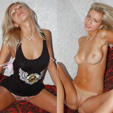 Blondine mit Klamotten und nackt